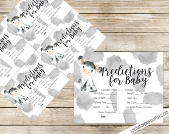 Cow Theme Predictions for Baby Printable, INSTANT DOWNLOAD, Digital File, Printable _1324