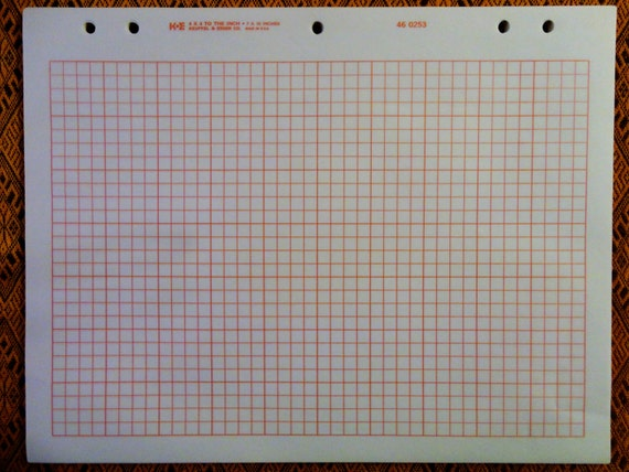 vintage graph paper ke 46 0253 in a lovely orange square grid from thegiddygrid on etsy studio