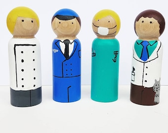 Careers (Kit 1) - UNFINISHED Wooden Peg Dolls - DIY Kit