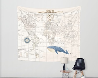 Nautical World Map with Whale Tapestry Wall hanging -  cream and white, travel decor, wall decor atlas, nursery art, bedroom, library