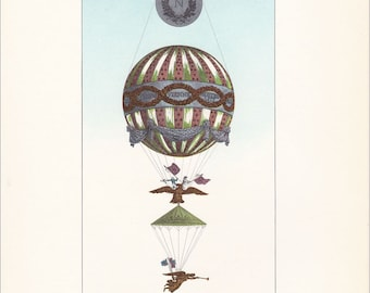 Vintage Balloon Print hot air balloon transport Montgolfier air travel 7 x 9.25 inches