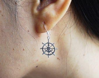 Ship Wheel Earrings Tiny Ship Wheel Earrings Captains wheel earrings Ship Helm Rudder Sterling Silver Earrings Nautical Jewelry TDM008