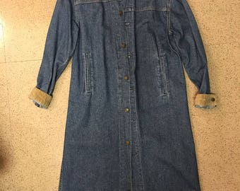 Vintage Levi's Denim Duster Womens S Corduroy Collar 80s/90s