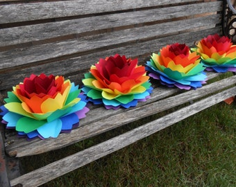 "HUGE Dahlia Centerpiece Flowers.  10.5"". ROYGBIV. Wedding, Gift, Decoration, Event, Gay Pride, Table Decor, Large Paper Flower"