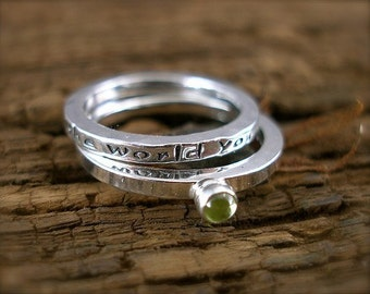 Inspirational Message Ring Set of Two-Create the world you love-in Sterling and Peridot