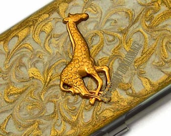 Business Card Case Safari Giraffe Metal Wallet Card Case Hand Painted Enamel Gold Swirl Design Custom Colors and Persoalized Option