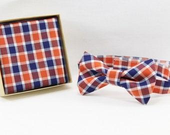 Gingham pocket square, navy and orange gingham pocket square, boys and men handkerchief