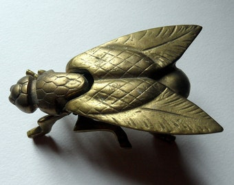 French vintage brass fly ashtray