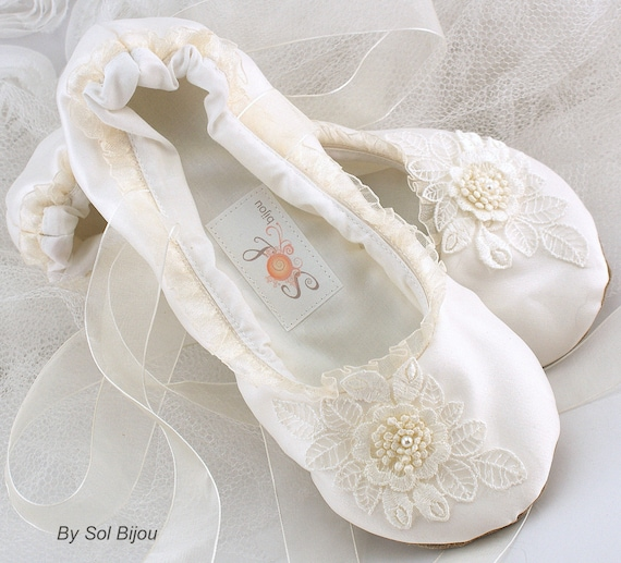 Ivory Satin Bridal Ballet Flats with Ruffles Lace Decorations