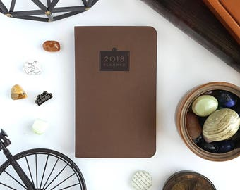 """2018 Planner — Earth Brown Minimalistic Planner (Soft Cover) —5"""" x 8"""""""