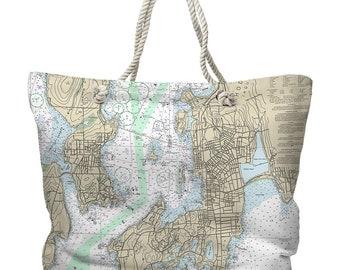 RI: Newport, RI Nautical Chart Tote Bag, Travel Themed Tote Bag, Map Tote Bag, Nautical Tote Bag, Beach Bag