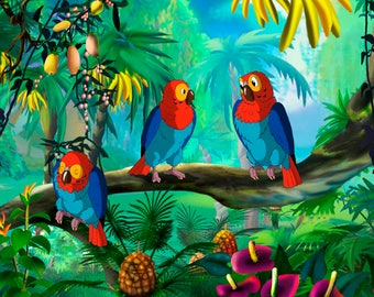 Tropical Parrots Children's In The Forest Mixed Media Art With Acrylic Gallery Wrap Ready To Hang Up To Size 86X45X3.8cm