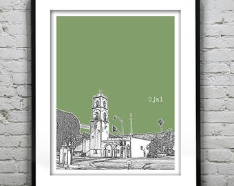 Ojai California Skyline Poster Art Print CA Version 1