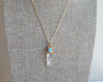 Crystal quartz pendant with turquoise accent , beach chic, resort wear jewelry, bohemian style, beach boho, 18kt gold plated chain