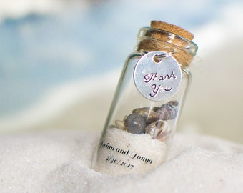 50 Beach Favours with Magnets - Wedding Personalized Sand and Shell Bottle Favours/Wedding Favors/Destination Wedding
