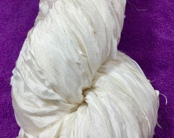 Recycled Sari Silk Chiffon Ribbon White Off White Tassel Dreamcatcher Garland Fair Trade Eco Gift Wrap Wedding Theater Costume Supply