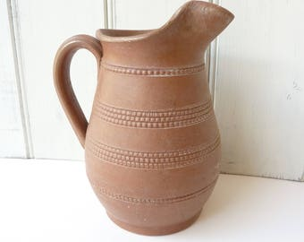Vintage French stoneware wine pitcher, water jug.
