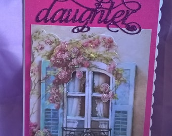 3d French window birthday card for daughters,with die cut lettering and glitter,a name or age can be added if requested when you order