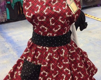 Antler red plaid 1950s Pinup Style Apron