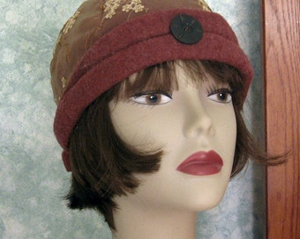 Vintage Womens Flapper Hat Pattern Felt With Organdie Overlay Instant Dowload Easy Bad Hair Day or Chemo Hair Loss Hat Pattern