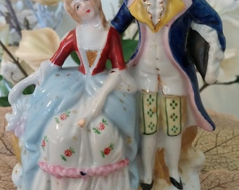 Vintage Colonial Couple Dressed For A Ball