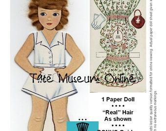 Paper Dolls _ Vintage REAL HAIR Stand-Up Paper Doll _ PDF _ Digital Download _ Paper Craft + Collage Sheet Paper Art Dolls + Bonus Booklets