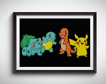 Pokemon cross stitch pattern / pikachu cross stitch / Naughty Charmander / Bulbasaur Pokémon / funny / instant digital download