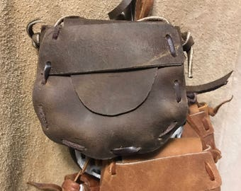 Small Hand Laced Leather 'Pocket '  Bag