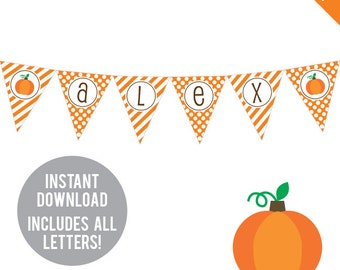 INSTANT DOWNLOAD Pumpkin Party - DIY printable pennant banner - Includes all letters, plus ages 1-18