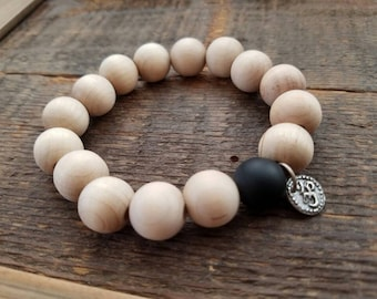 Mens bold wood bead and black onxy bracelet with .925 sterling silver OM