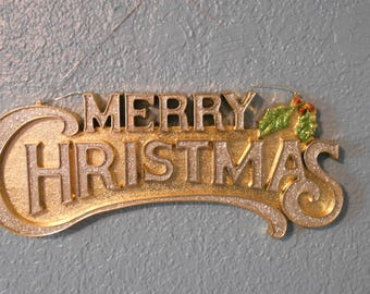 Vintage Gold Merry Christmas Sign Banner Retro Mid Century