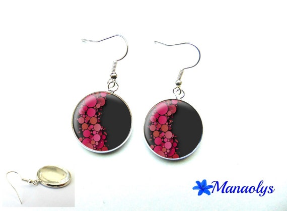 Pink earrings, glass 3256 cabochons
