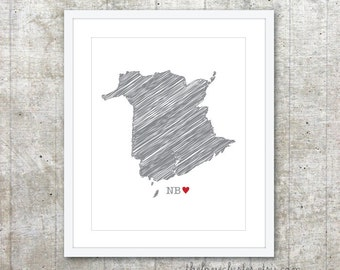 New Brunswick Canada Province Art Print - Custom Canadian Province Poster - NB Canada Province Poster - Slate Grey Red Heart