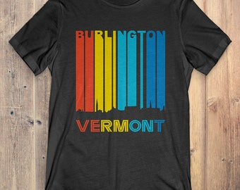 Retro 1970's Style Burlington Vermont Skyline Vintage T-Shirt