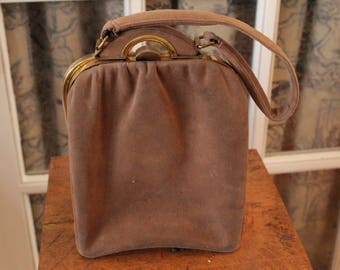 1940's Structured Taupe Suede Bag