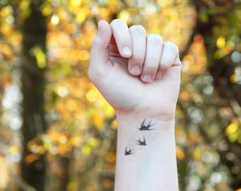 Swallow Tattoo - 3 Small Flying Birds Swallow Tattoo -Temporary Tattoo