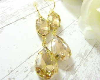 Champagne Earrings Champagne Rhinestone Teardrop Drop Vintage Estate Style Earrings