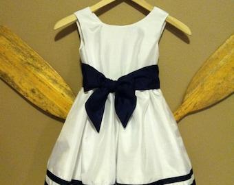White Nautical Flower Girl Dress