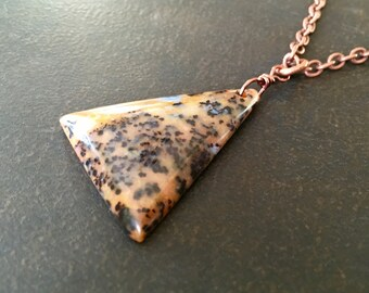 Men's Stone Necklace, Petrified Wood Opal, Stone Pendant, Natural Stone, Antique Copper, Jewelry for Men, Masculine Necklace  1306