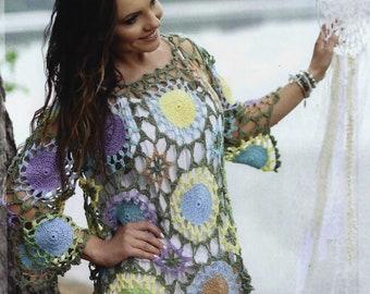 Multicolor on a crochet tunic Boho style tunic / order
