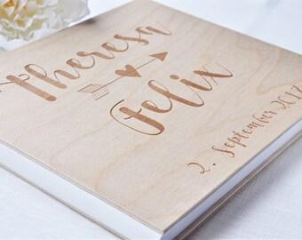 custom wood wedding guest book