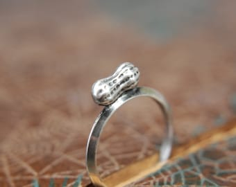 The Tiniest Peanut Mommy Ring. Sterling silver peanut stacking ring. Push present new mom gift. Expectant mother jewelry.