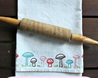 MUSHROOM ROW - pdf embroidery pattern, tea towel edging, border design, row of mushrooms, wee toadstools