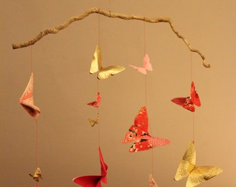 12 origami butterflies mobile to decorate a child's room, birthday or anniversary gift. Entirely handmade