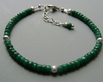 Gemstone Stacking Bracelet, Emerald Bracelet, Gemstone Layering Bracelet, Delicate Bracelet, Emerald Stacking Bracelet, May Birthstone Gift