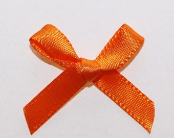 25 x 7mm Satin ribbon bow: Orange - 02347