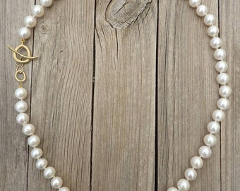 Pearl necklace, 18K Gold necklace, White Pearl Gold necklace - Zen Nature Collection