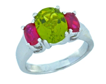 3.5 Ct Peridot & Ruby Oval Ring .925 Sterling Silver Rhodium Finish