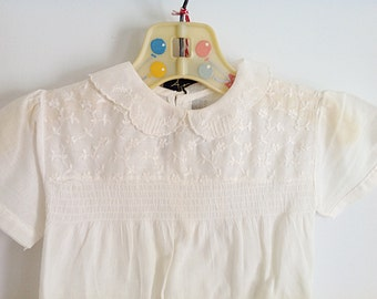 Vintage White Babydoll Textured Design Toddler Dress/Shirt // 1960s
