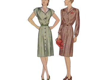 40s Shirtdress pattern Fit and Flare dress pattern vintage 34-28-37 day dress simplicity 1345